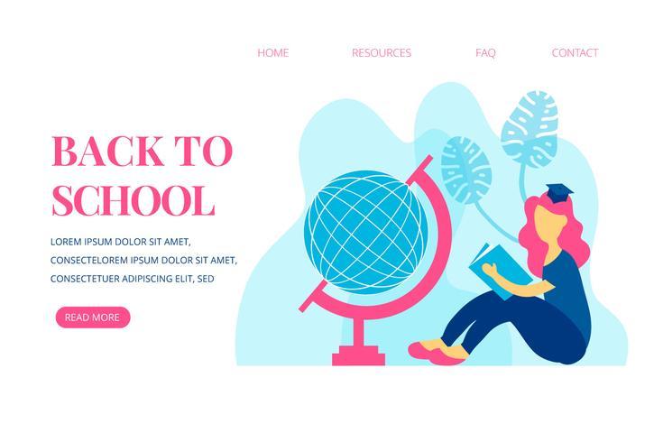Página de destino sobre la escuela con una niña leyendo un libro