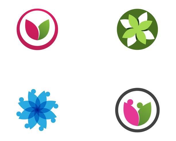 vettore di logo e simboli del fiore di loto fogliare
