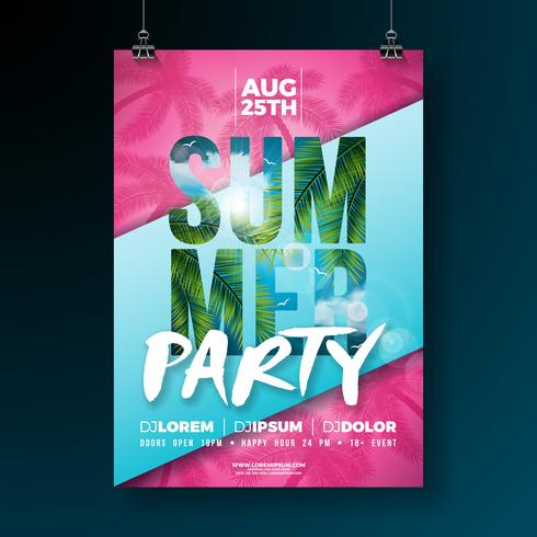 Vector Summer Party Flyer Design with Flower and Tropical Palm Leaves on Abstract Background. Summer Holiday Illustration with Exotic Plants