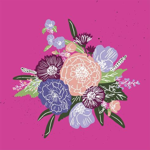 Enkelt och roligt blommönster. Vektor sömlös textur med blommor och polka prickar. Blommor bakgrund i naiv vintage stil.