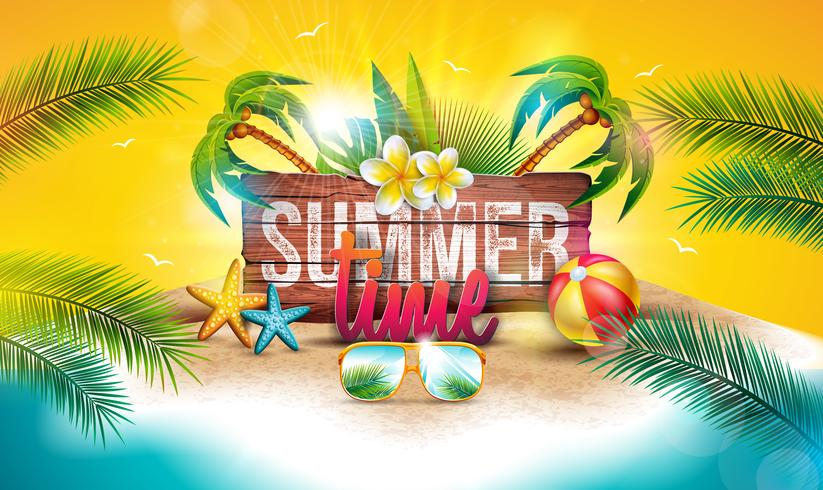 Vector Summer Time Holiday Illustration with Typography Letter on Vintage Wood Board Background. Tropical Plants, Flower, Beach Ball and Sunglasses on Paradise Island for Banner or Party Flyer