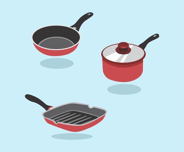 Frying Pan Vector Set. En uppsättning av köksartiklar för matlagning. Pan, Saucepan, Frying Pan.