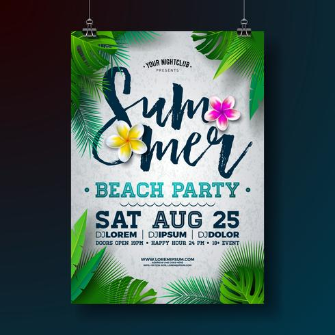 Vector Summer Beach Party Flyer Design with Flower and Tropical Palm Leaves on White Background. Summer Holiday Illustration with Exotic Plants