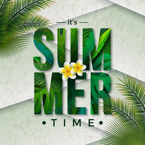 Vector el ejemplo del tiempo de verano con la letra de la tipografía y las hojas de palma tropicales en fondo del verde de la naturaleza. Plantas exóticas y flores para banner de vacaciones