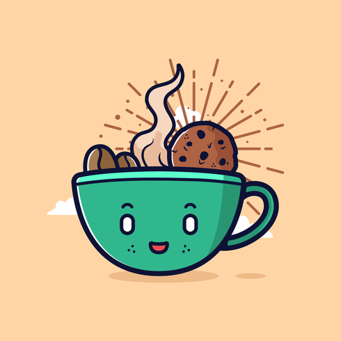 Koffie Cartoon Clipart Vector