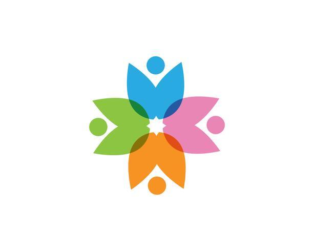 Community Zwiebel Menschen sorgen Logo und Symbole Vorlage