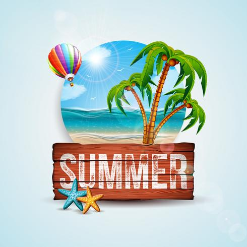 Vektor-Sommerferien-Illustration mit Weinlese-hölzernem Brett und exotischen Palmen auf Ozean Landsape-Hintergrund. Tropische Pflanzen, Seesterne und Luftballon für Banner