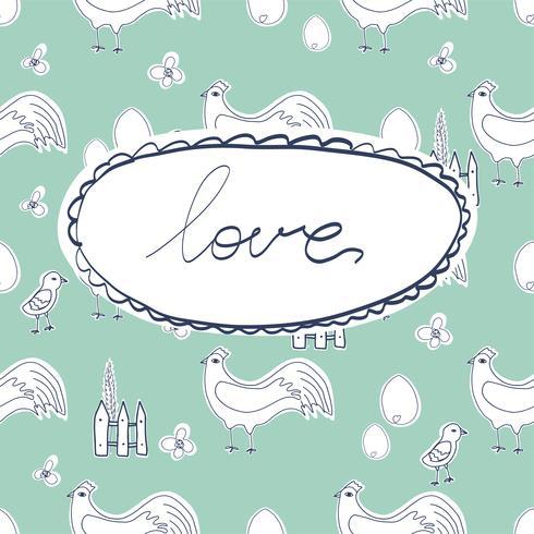 Personaje de dibujos animados de gallina feliz en diferentes poses aislado. Ilustración plana de vector de gallina y gallo. Lindo y divertido conjunto de colores.