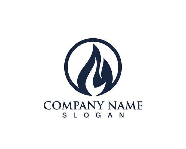 Modello di icone di logo e simboli di natura della fiamma nera del fuoco