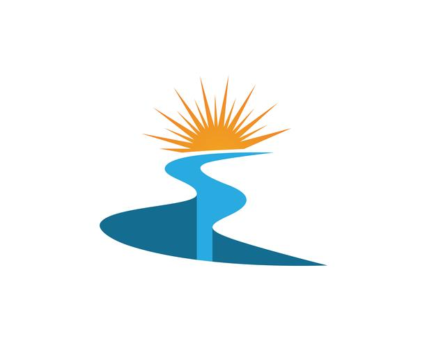 Rio e sol logotipo modelo vector icon ilustração