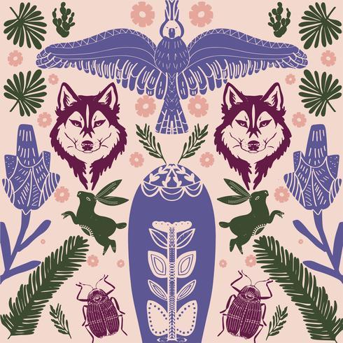 Padrão de lobo escandinavo arte folclórica com pássaros e flores