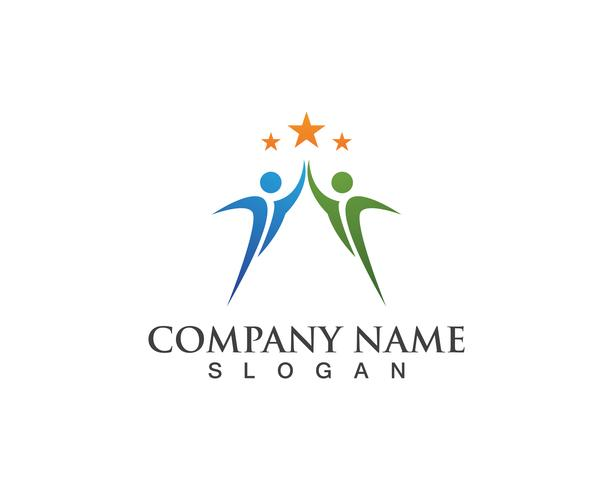 Icone del modello di logo di vita di salute di successo della gente del gruppo