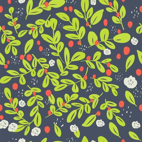 Estampado de flores ditsy inconsútil con las flores y las hojas coloridas brillantes en fondo negro en estilo popular ingenuo. Plantilla de verano para estampados de moda en vector.