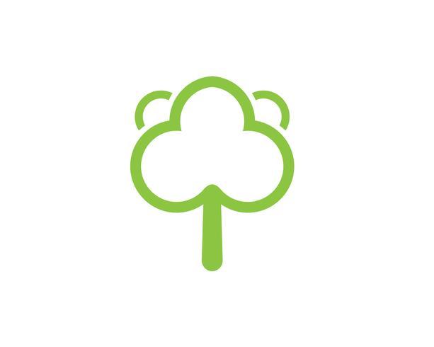Modello di logo di vettore di albero carta d'identità verde