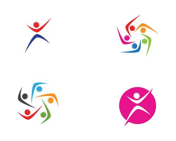 Plantilla de símbolos de personas de logotipo de comunidad de cebolla