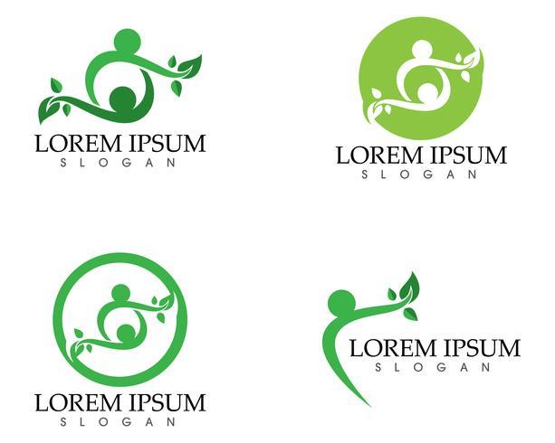 personnes feuille vert nature santé logo et symboles