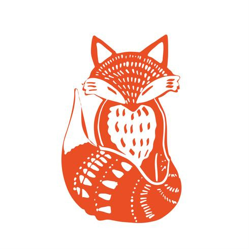 Scandinaviat folk art com raposa, estilo nórdico blockprint imitação