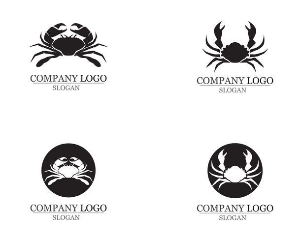 silhouettes de crabe sur les icônes de fond blanc