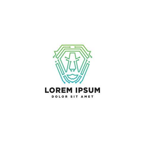 Elemento dell'icona dell'illustrazione di vettore del modello di logo della linea del leone isolato
