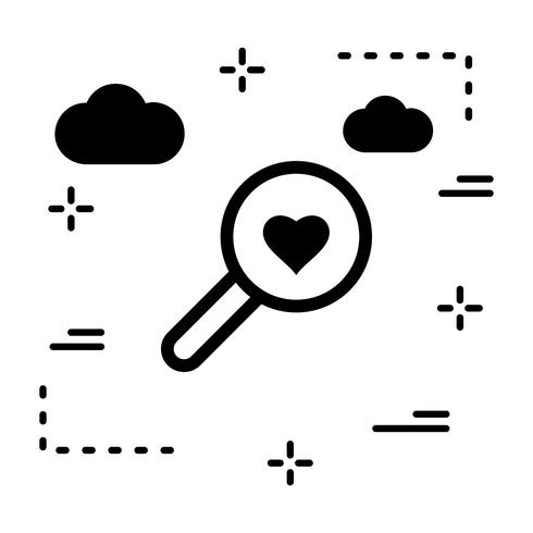 Icona del cuore di ricerca vettoriale