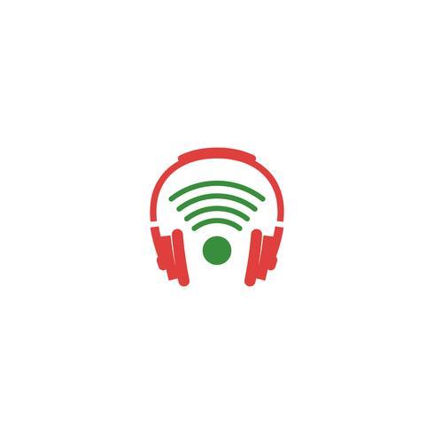 elemento de ícone de logotipo criativo de fone de ouvido sem fio isolado