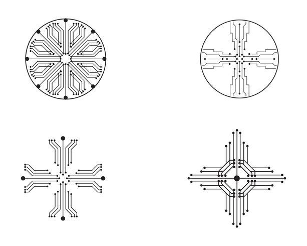 Tecnologia di logo di simbolo di vettore di progettazione dell'illustrazione di circuito