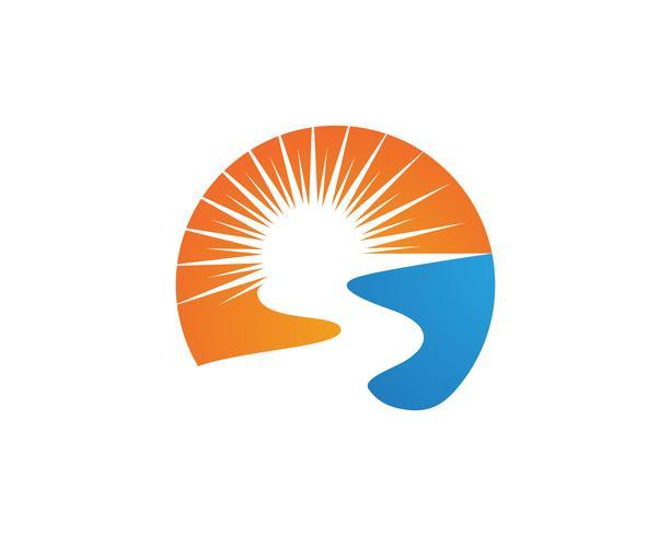 Fiume e sole Logo Template vettoriale icona illustrazione