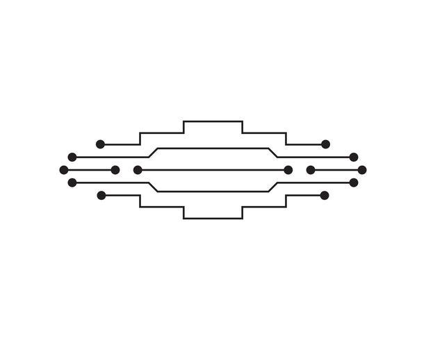 Circuit illustratie ontwerp vector symbool logo-technologie