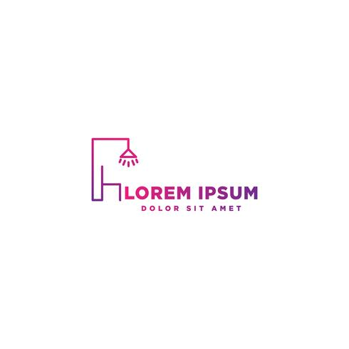 interior design leggero logo con illustrazione vettoriale stile di linea
