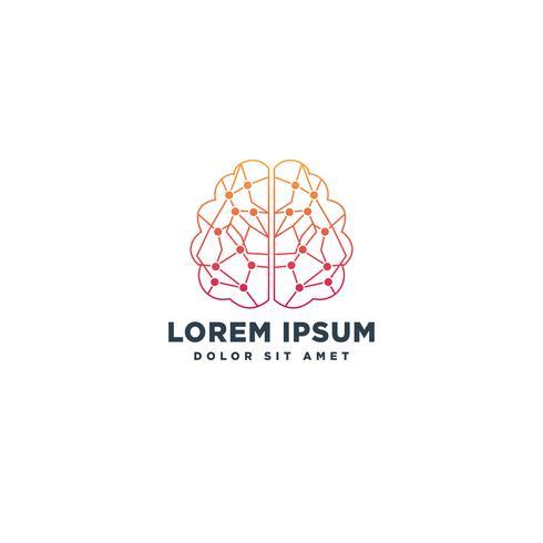 elemento creativo del icono de la ilustración del vector de la plantilla del logotipo de la tecnología del cerebro