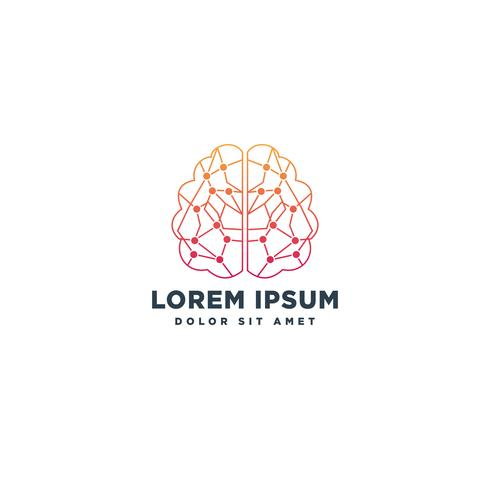 brain technology creative logo template vector illustration icon element