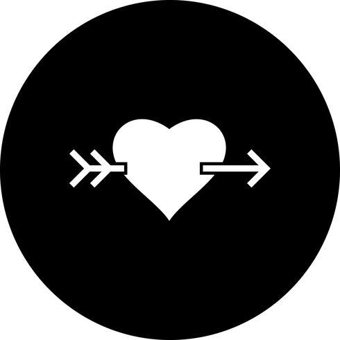 Icona della freccia trasversale del cuore di vettore