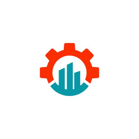 gear chart logo design industrial icon element illustration