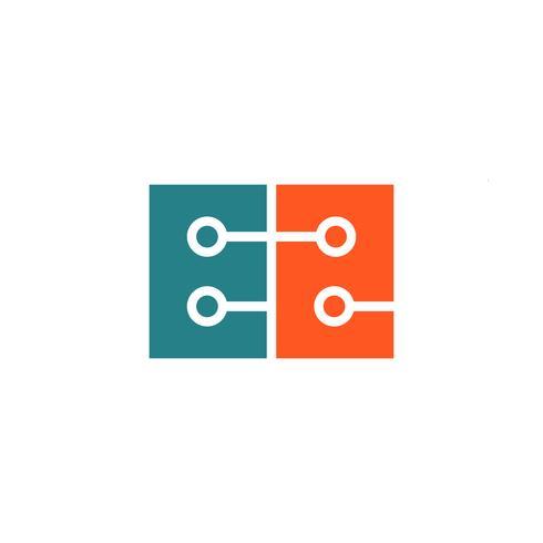 tecnología digital letra E logotipo plantilla vector ilustración icono elemento