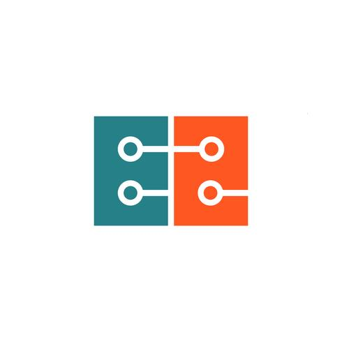 teknologi digitalt brev E logotyp mall vektor illustration ikon element