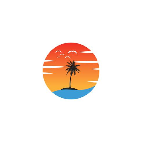 beach sunset logo design vector icon element, sunset logo concept