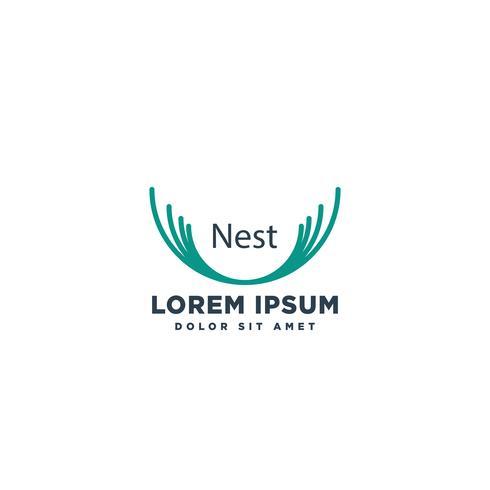 elemento de nido línea simple logotipo plantilla vector ilustración icono