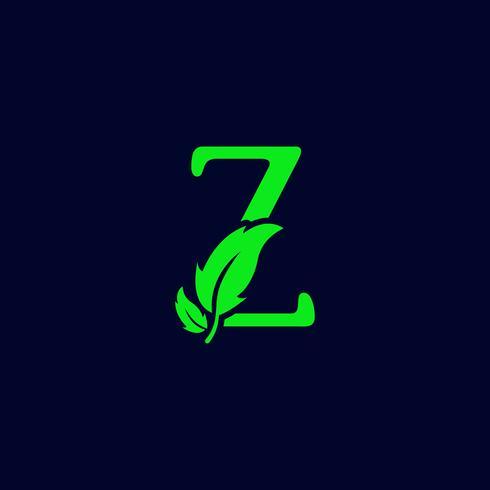natureza de folha letra z, vetor de modelo de logotipo verde eco isolado