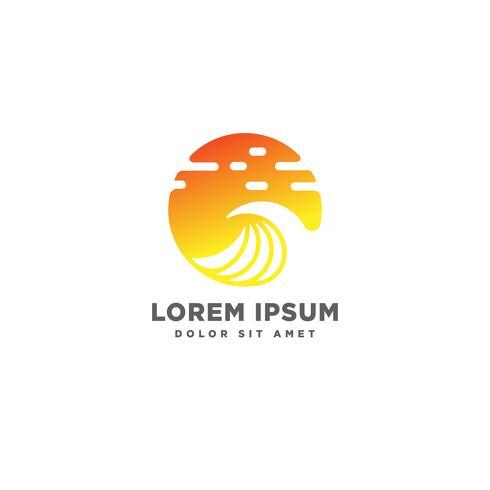 elemento do ícone do vetor do sol praia logotipo design, conceito do logotipo do sol