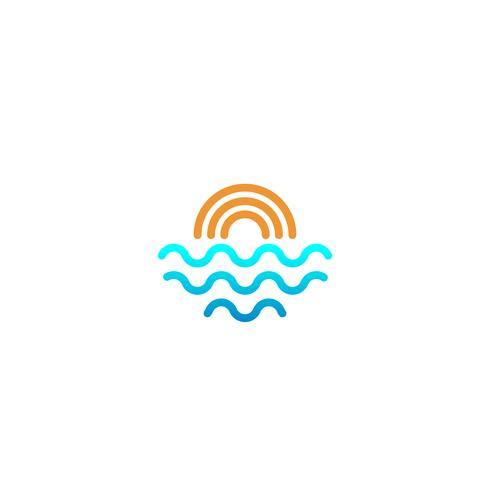 Strandsonnenunterganglogodesignvektor-Ikonenelement, Sonnenunterganglogokonzept