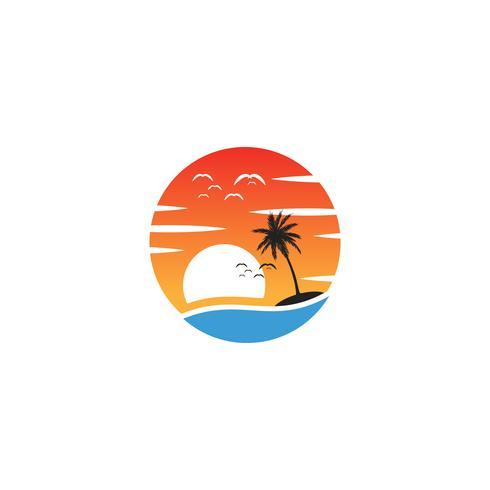 beach sunset logo design vector icon element, sunset logo concept