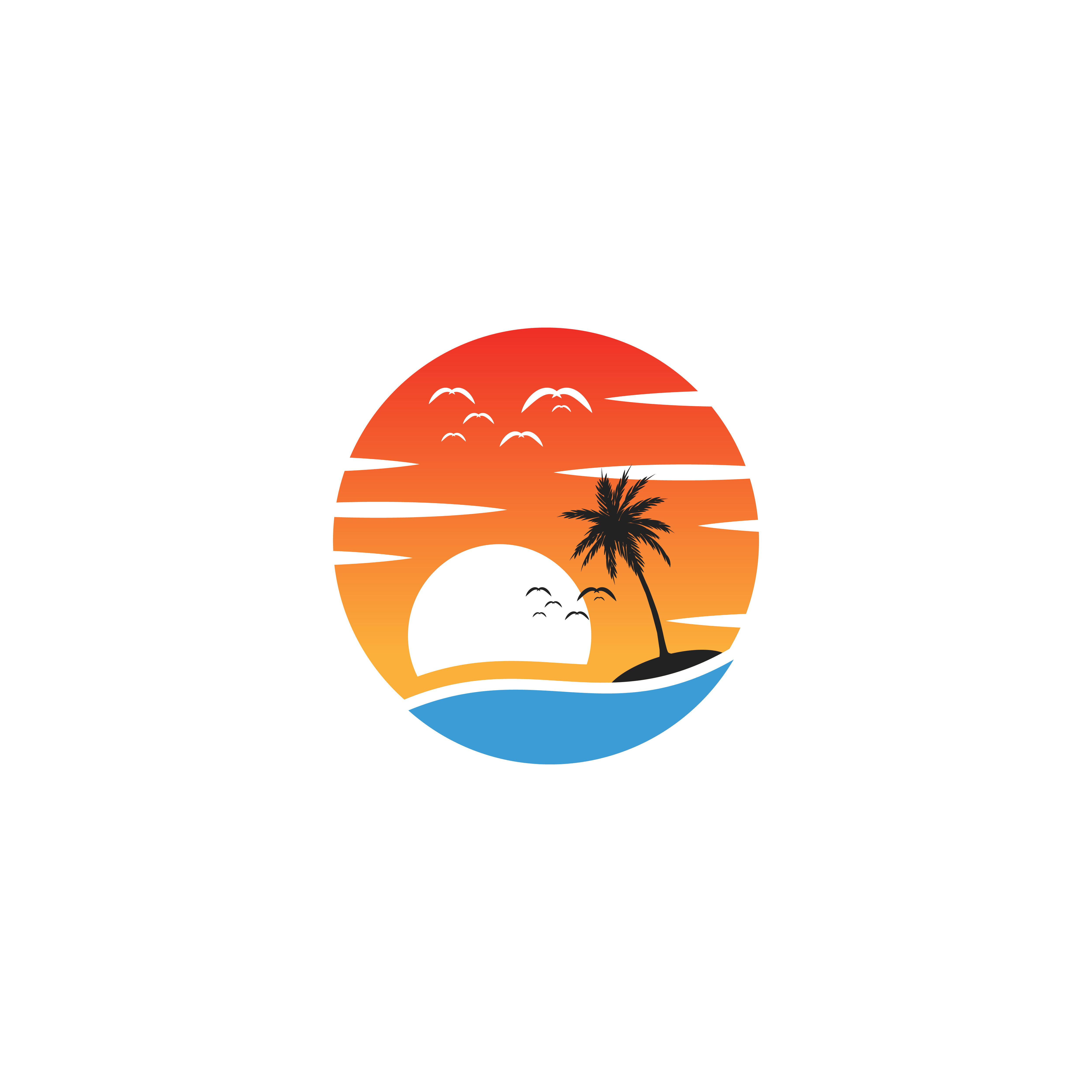 beach sunset logo design vector icon element, sunset logo ...