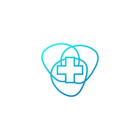 Cruz médica e modelo de vetor de logotipo de farmácia de saúde