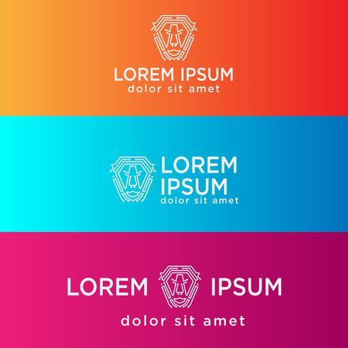 Logo-Schablonen-Vektorillustration der Löwetechnologie kreative