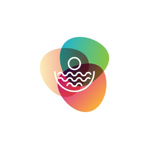 elemento dell'icona di vettore di progettazione di logo di tramonto della spiaggia, concetto di logo di tramonto