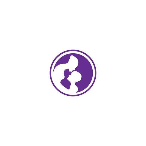 mamma e bambini baby care semplice logo modello illustrazione vettoriale