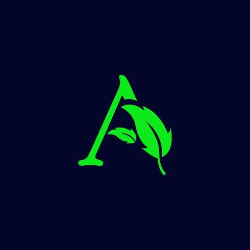 Carta una naturaleza de la hoja, vector de plantilla de logotipo verde eco aislado