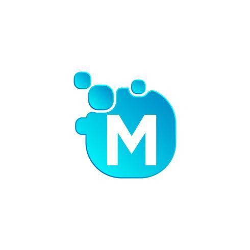 Modelo de logotipo de bolha m carta ou icon ilustração vetorial