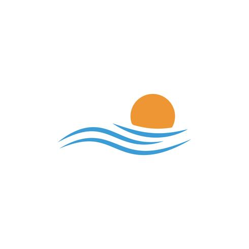 elemento de icono de vector de diseño de logotipo puesta de sol playa, concepto de logotipo al atardecer