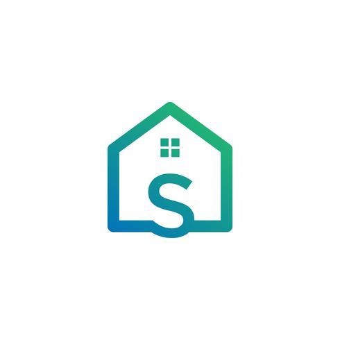 brev s arkitekt, hem, konstruktion kreativ logotyp mall